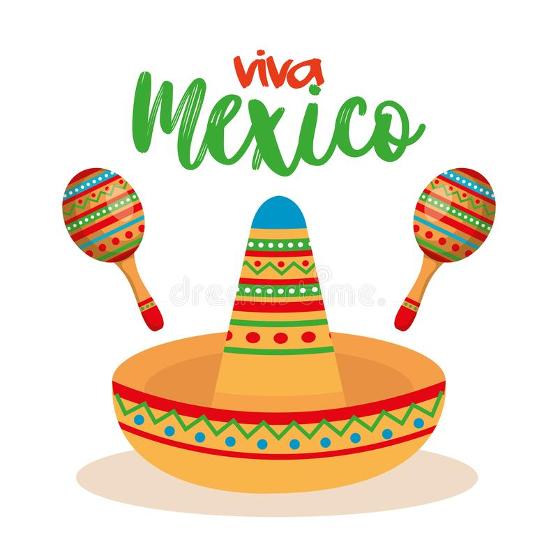 Mexican culture traditional hat and maracas. Vector illustration royalty free illustration
