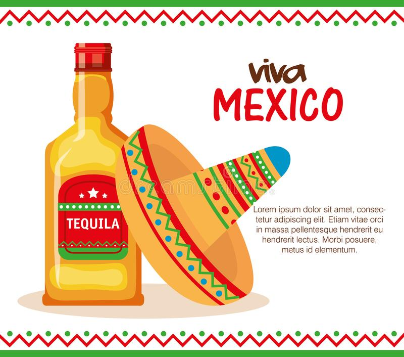 Mexican culture traditional hat and tequila. Vector illustration stock illustration