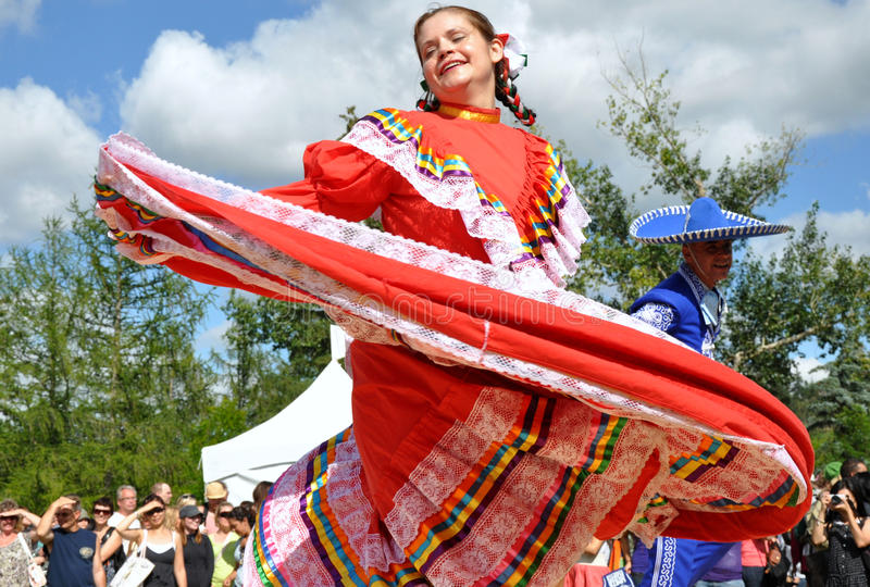 Mexican Dancers. At Edmonton's Heritage Days stock image