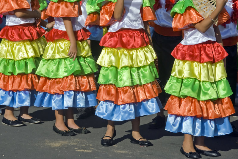 Mexican Dancers. Students in a parade dressed up as Mexicans stock image