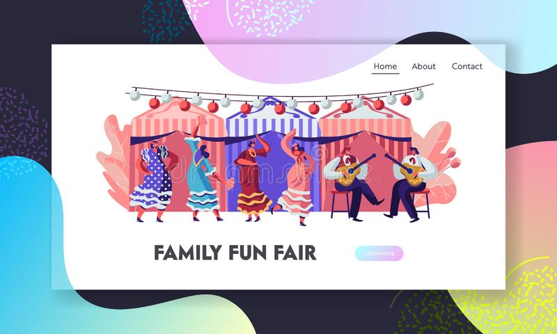 Mexican Dancers and Guitar Players at Cinco De Mayo Festival. Latin Music Folk Celebration. Girls in Traditional Dresses stock illustration