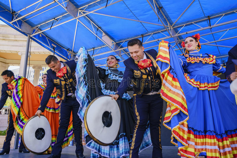 Mexican dancing at the famous Cinco de Mayo Festival stock photos