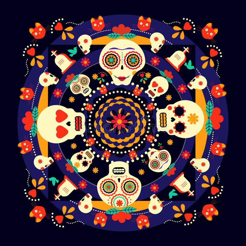 Download Day Of The Dead Sugar Skull Holiday Background Stock Vector