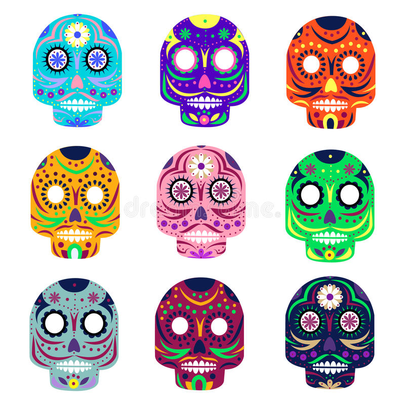 Mexican day of the dead concept vector illustration. Muerte festival. Colorful set skulls on white background royalty free illustration
