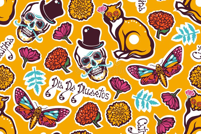 Mexican Day of the Dead. Dia De Los Muertos. Seamless pattern with a human skull in a hat, a cat, a moth Hyles, flowers, marigolds. Lettering. Vector royalty free illustration