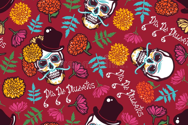 Mexican Day of the Dead. Dia De Los Muertos. Seamless pattern with a human skull in a hat, flowers marigolds, lettering. stock illustration