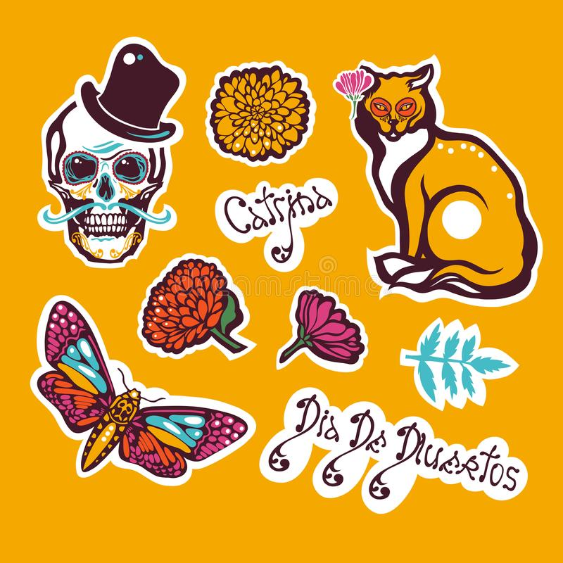 Mexican Day of the Dead. Dia De Los Muertos. Sticker with a human skull in a hat, a cat, a moth Hyles, flowers, marigolds. royalty free illustration