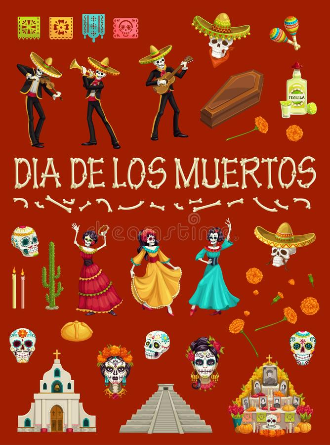 Mexican Day of Dead skull, skeleton and cemetery. Day of the Dead festival dancing skeletons and skulls. Dia de los Muertos Mexican holiday religious symbols royalty free illustration