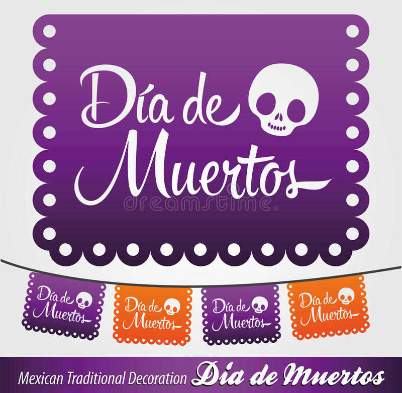 Mexican Day of the death spanish text decoration. Dia de Muertos - Mexican Day of the death spanish text vector decoration - lettering eps available stock illustration