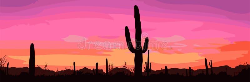 Mexican desert sunset vector illustration