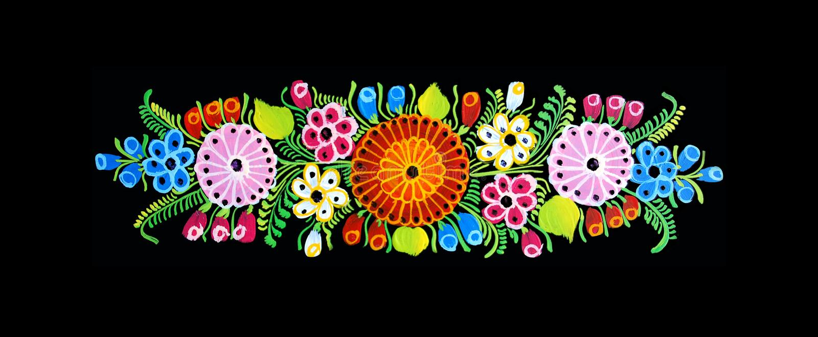 Mexican design. Mexican flowers, hand painted design stock illustration