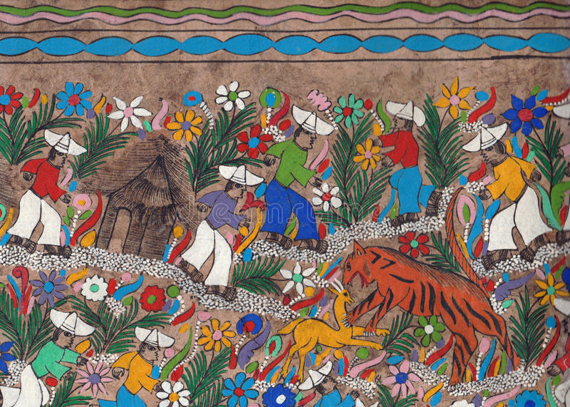Mexican design parchment : tiger hunting. royalty free stock images