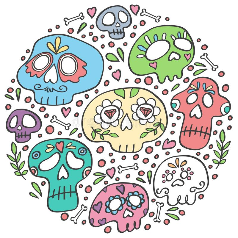 Mexican Dia de los Muertos Day of the Dead skull in circle. Day of Dead holiday skulls. Round icon for the party. Circle concept with sugar skulls. Pastel vector illustration