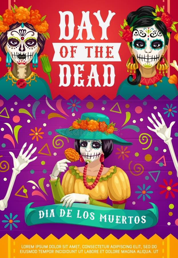 Mexican Dia de los Muertos, woman calavera skull. Day of Dead Mexican Dia de los Muertos party poster of woman calavera skull with marigold flowers wreath royalty free illustration