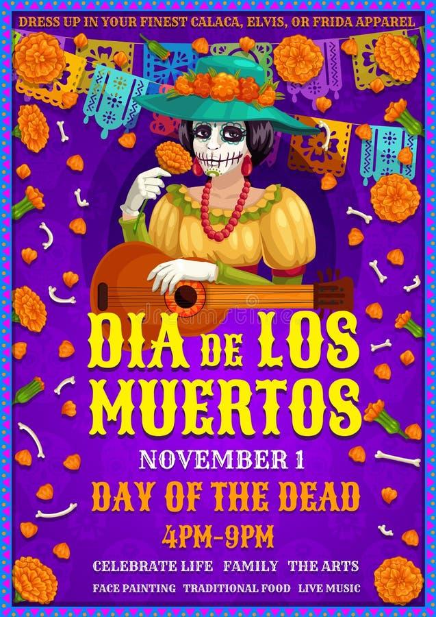 Mexican Dia des los Muertos party, Frida woman stock illustration