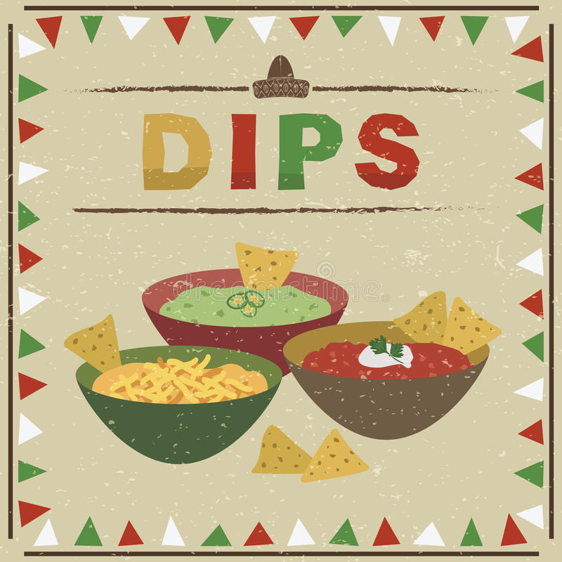 Mexican dips royalty free illustration