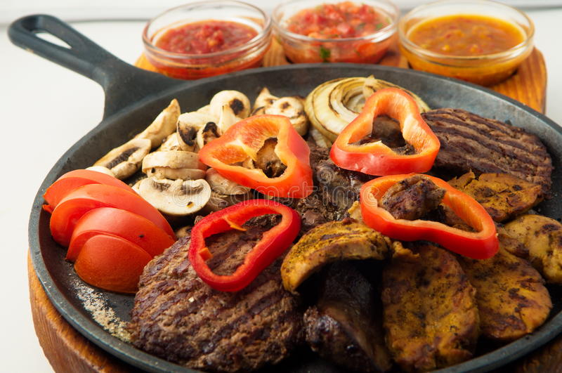 The mexican dishes mega grill pan royalty free stock image