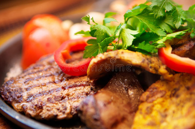 The mexican dishes mega grill pan royalty free stock photography