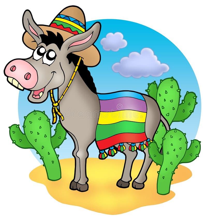 Mexican donkey in desert stock illustration