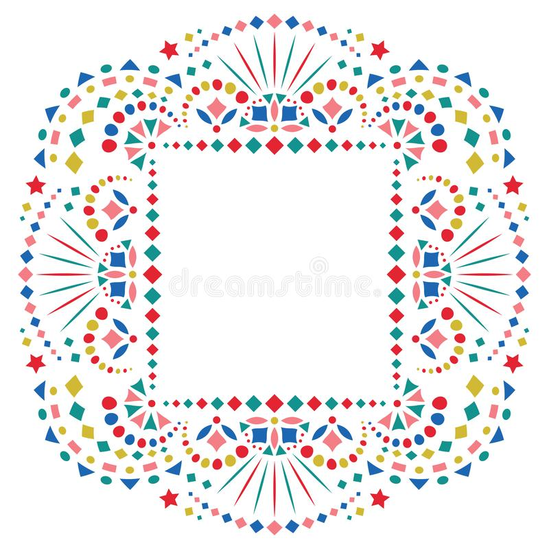 Mexican Ethnic Embroidery Motif For Border Stock Vector