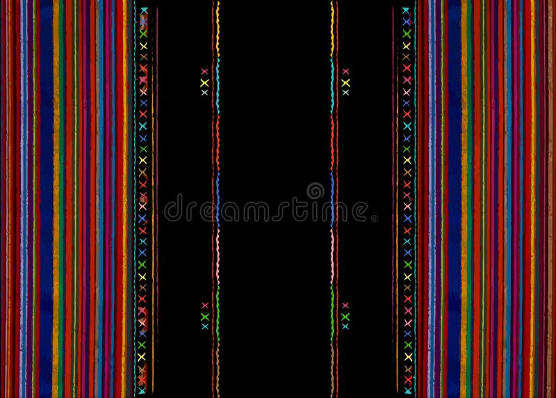 Mexican ethnic embroidery Tribal art ethnic pattern. Colorful Mexican Blanket Stripes Folk abstract geometric repeating background. Mexican ethnic embroidery vector illustration