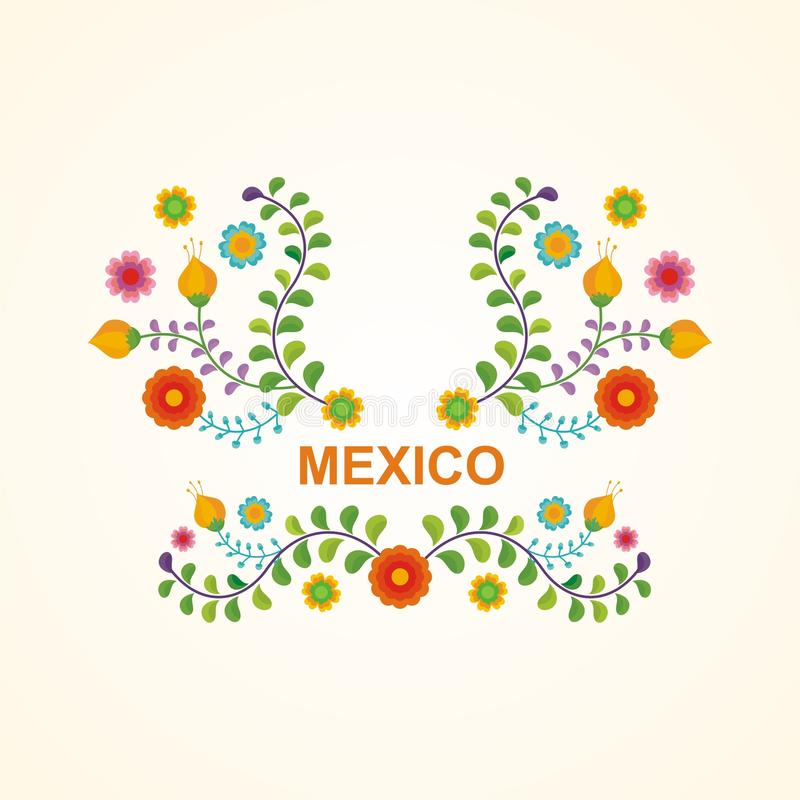 Mexican ethnic flower frame - border design royalty free illustration