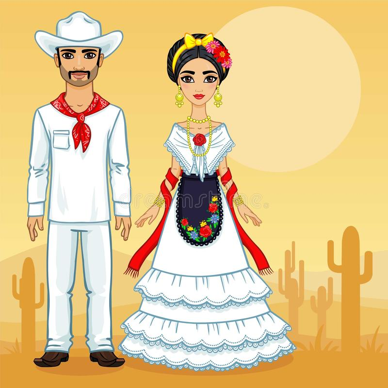 Mexican family in traditional clothes. royalty free illustration