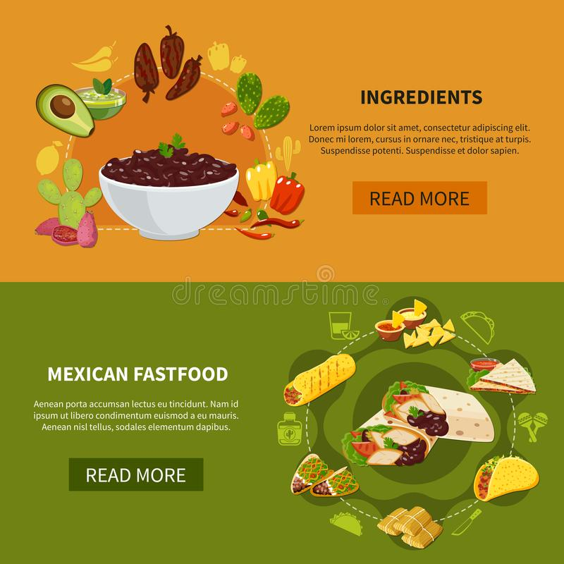 Mexican Fastfood Horizontal Banners. Set of horizontal banners with mexican fastfood and ingredients for traditional dishes isolated vector illustration stock illustration