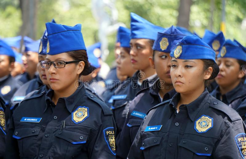 Mexican female police cadets stock images