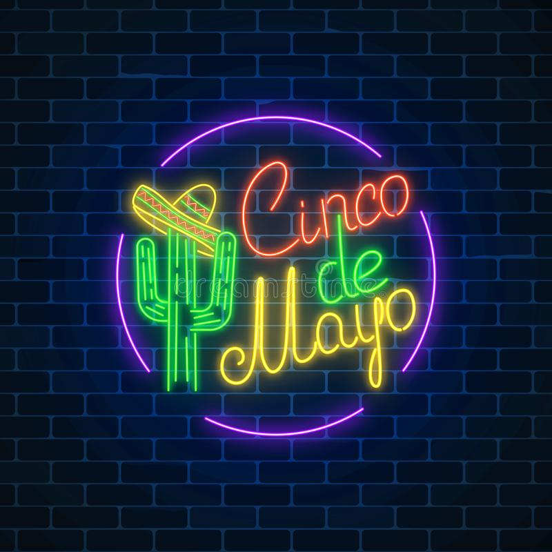 Mexican festival flyer design with cactus and sombrero hat. Glowing neon sinco de mayo holiday sign in circle frame on dark brick wall background. Mexican vector illustration