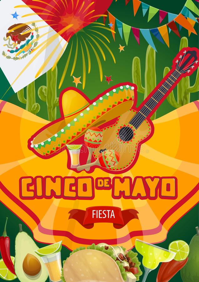 Mexican fiesta, Cinco de Mayo holiday party. Cinco de Mayo Mexican fiesta celebration flags and fireworks. Vector Cinco de Mayo holiday party tequila with stock illustration