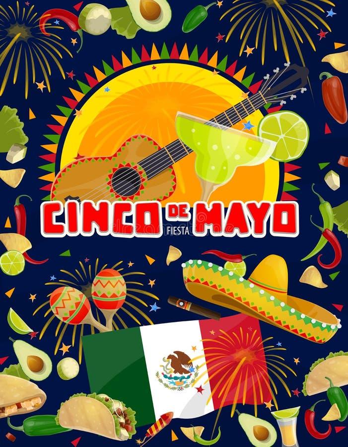 Mexican fiesta guitar, maracas, food and drink. Cinco de Mayo fiesta party guitar, sombrero, food and drink vector design. Mexican holiday mariachi maracas vector illustration