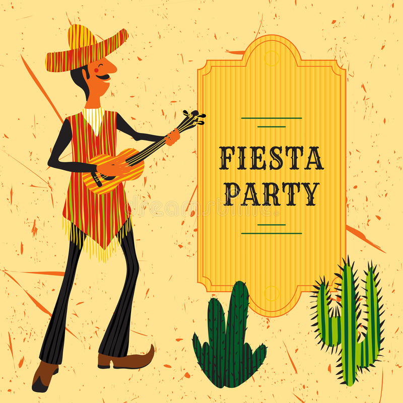 Mexican Fiesta Party Invitation with Mexican man playing the guitar in a sombrero and cactuses. Hand drawn vector illustration stock illustration
