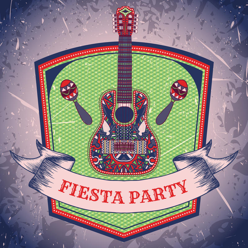 Mexican Fiesta Party label with maracas and mexican guitar .Hand drawn vector illustration poster with grunge background. stock illustration