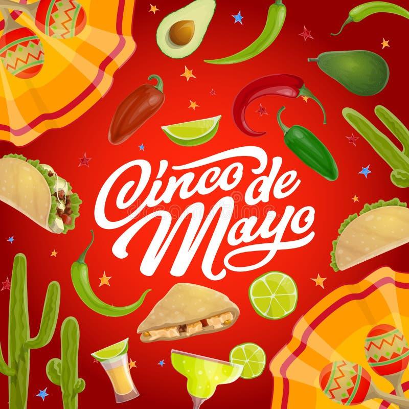 Mexican fiesta party maracas, food. Cinco de Mayo. Cinco de Mayo Mexican holiday vector greeting card with mariachi maracas and fiesta party food. Tequila royalty free illustration