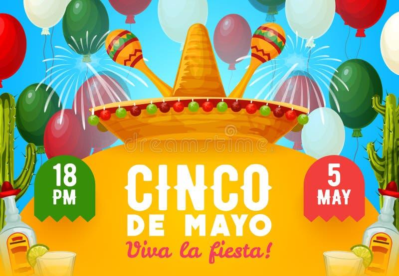 Mexican fiesta party sombrero, maracas and drinks. Cinco de Mayo fiesta party vector invitation with Mexican holiday drinks and decor. Mariachi sombrero and vector illustration