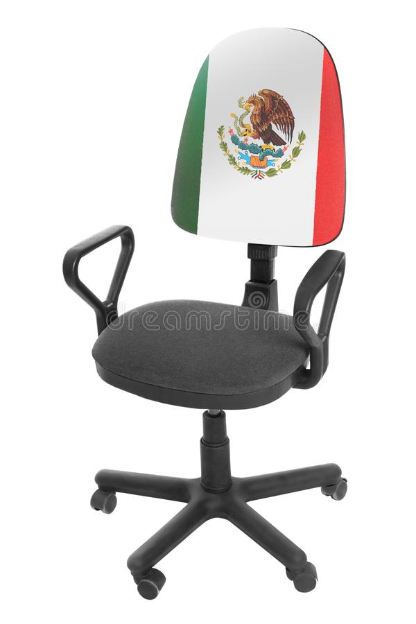 The Mexican flag. On the back of a chair. Isolated on white background royalty free stock photography