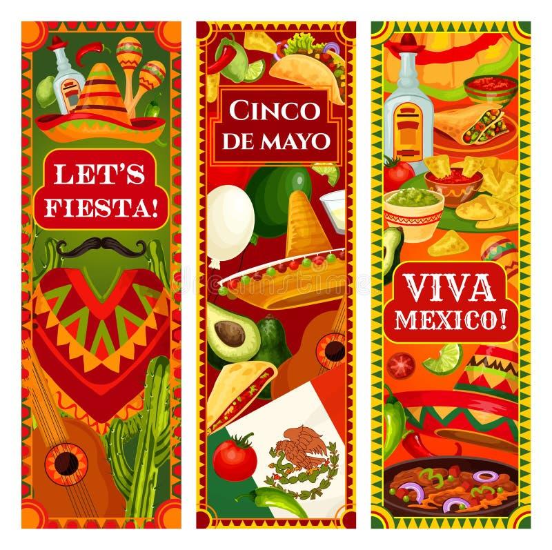 Mexican flag, Cinco de Mayo guitar and sombrero. Cinco de Mayo holiday mariachi sombrero, guitar and maracas greeting banners. Vector Mexican flag, cactus royalty free illustration
