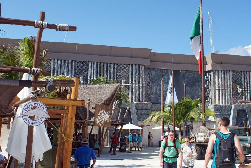 Mexican flag at the cruise ship terminal. Mexican flag flying above the cruise ship pier in Costa Maya, Mexico stock photos