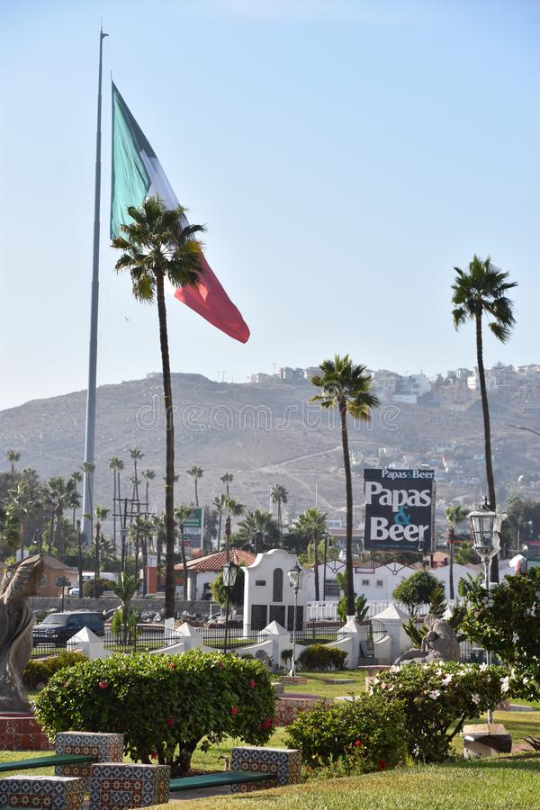 Mexican flag hoisted at the Port of Ensenada. In Mexico royalty free stock image