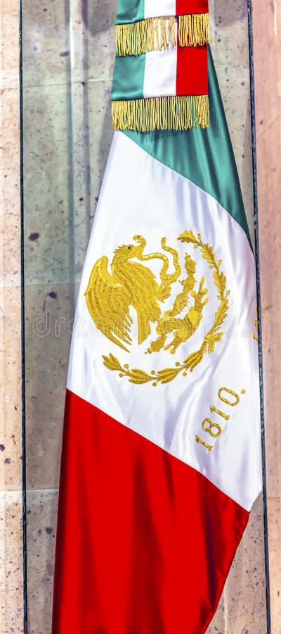 Mexican Flag Independence Memorial Alhondiga Guanajuato Mexico. Mexican Independence Memorial Flag Alhondiga de Granaditas Independence Museum Guanajuato Mexico royalty free stock photography