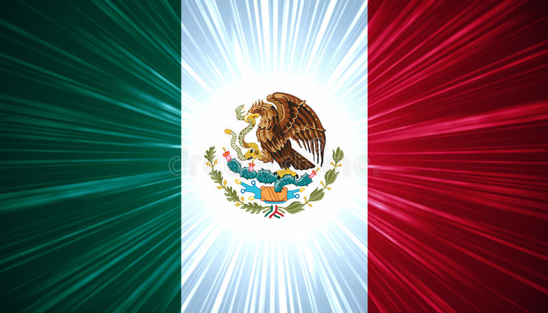 Download Mexican Flag With Light Rays Stock Illustration - Illustration: 26593481