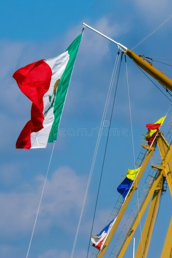 Mexican flag on the mast. royalty free stock images