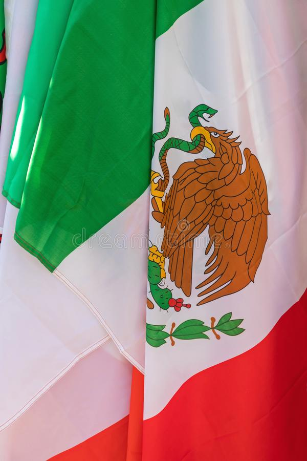 Mexican Flag. Mexico Eagle Coat of Arms at Mexican Flag stock image
