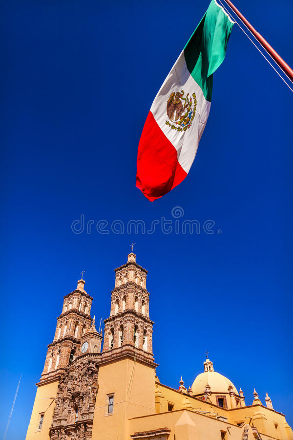 Mexican Flag Parroquia Cathedral Dolores Hidalalgo Mexico. Mexican Flag Parroquia Cathedral Dolores Hidalgo Mexico. Where Father Miguel Hidalgo made his Grito de stock images