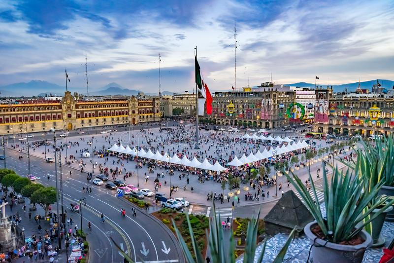 Mexican Flag Presidential National Palace Balcony Monument Mexico City Mexico. Mexican Flag Presidential National Palace Balcony Monument Zocalo Mexico City stock image