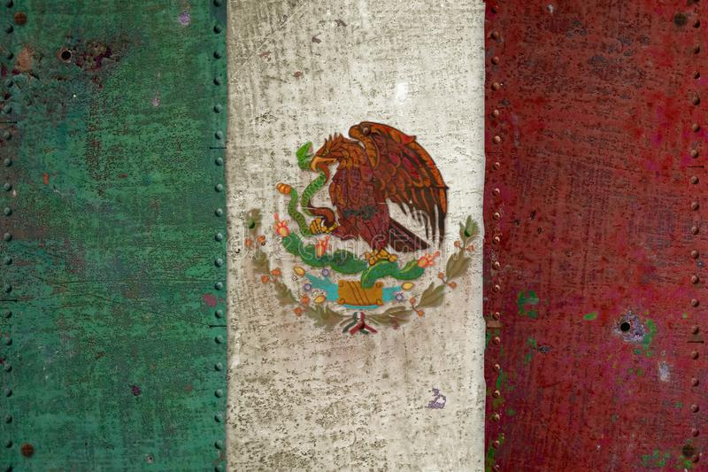 Mexican Flag Retro Grunge. Metal Tin Distressed Old Worn Rusted rivets Antique Vintage royalty free stock photography