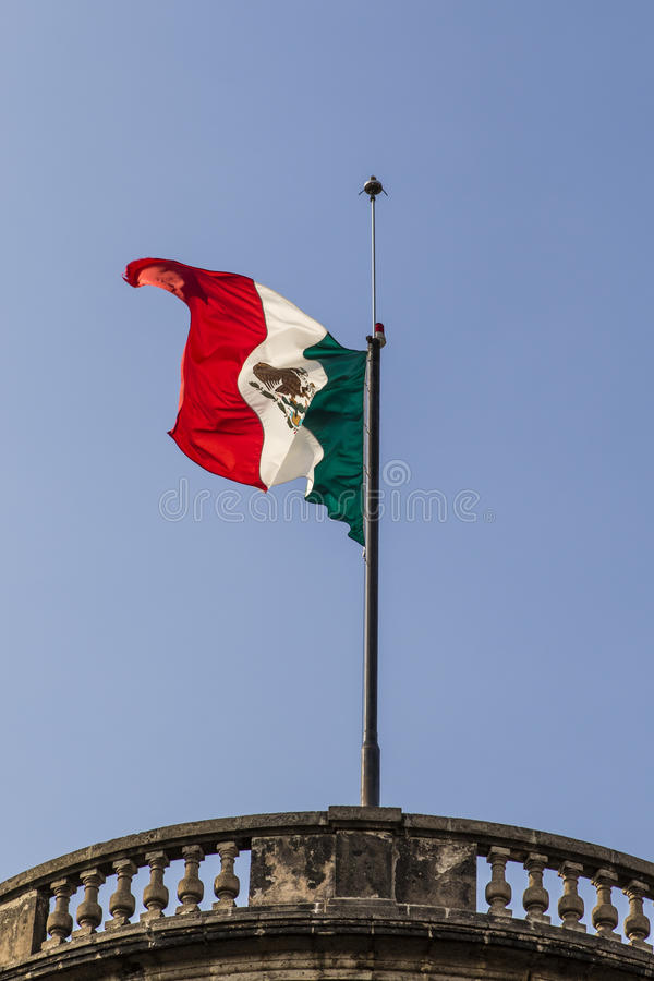 Mexican flag on top of Castle Chapultepec in Mexico City, Mexico. North America stock photos