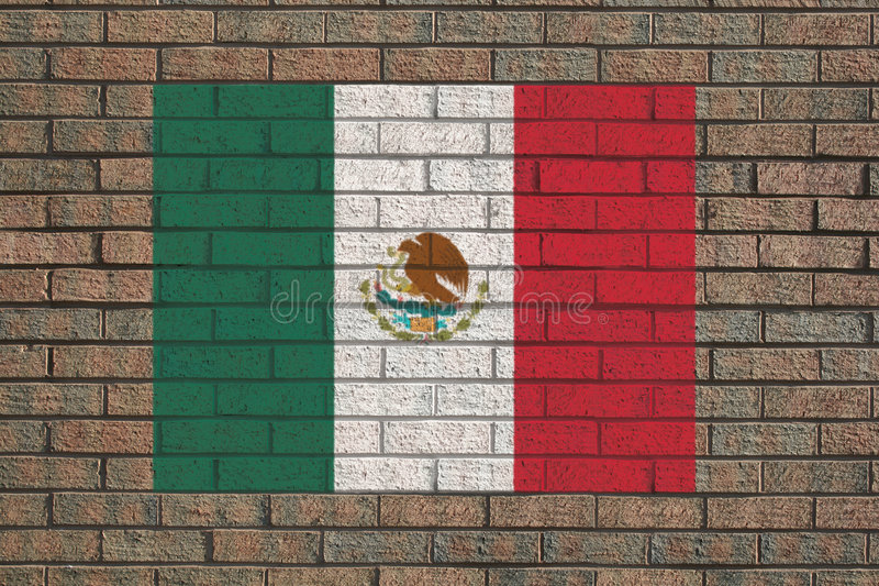 Download Mexican flag on wall stock illustration. Illustration of architecture - 6961639