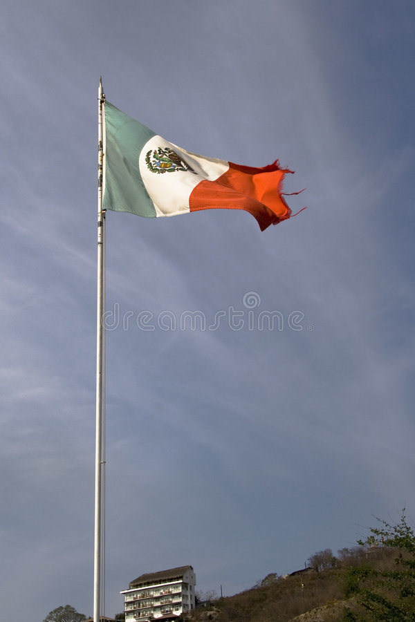 Mexican Flag in Zihuatanejo. Mexico royalty free stock photography